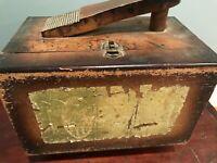 """Vintage Esquire Portable Shoe Shine Kit 11"""" X 8"""" Shoe Care Wood Box Old"""
