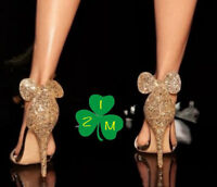 ☘NEW PRIMARK DISNEY MINNIE MOUSE EARS GLITTER BOW STILETTO HIGH HEELS SHOES GOLD