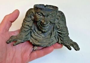"Antique Victorian 1880s Spelter ""Chinaman"" Grotesque Inkwell~as shown"