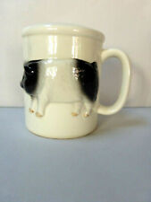 Otagiri Hand Crafted Pig Ceramic Salt Shaker Holder Black White Handle Japan