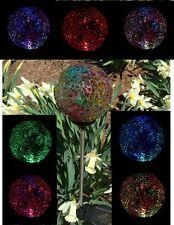 2xSolar Glass Ball Garden Decor Stake Yard Lamp Patio Color Changing Led Lights