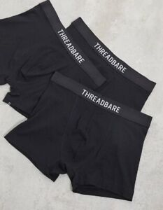 Threadbare men's 3 pack jersey boxers size large in black
