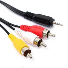 1.5m 2.5mm Mini Jack Plug To 3 Phono Audio Video AV Out Cable 4 Pole TV Lead U