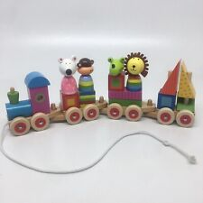 Wooden Pull String Train with Stacking Blocks Toy -See Pictures