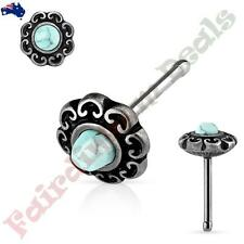 Surgical Steel Antique Silver Nose Stud with Turquoise Tribal Heart Filigree Top