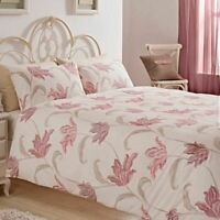 FLORAL PINK BEIGE CREAM COTTON BLEND DOUBLE 6 PIECE BEDDING SET