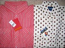 Lot of 2. Wrangler Western Shirts. Men. M. Long sleeve. 100% Cotton. NWT.