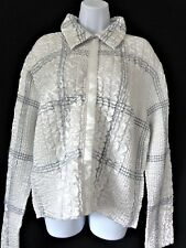 PERSONA by GREAT CAVALIER White Gray Crinkle REVERSIBLE Jacket Womens LARGE L