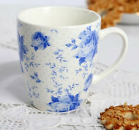 12 fl oz Ceramic Coffee Mug with Floral Pattern. French Country Style Teacup