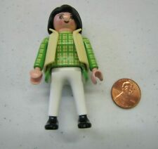 PLAYMOBIL Figure BLACK HAIRED MOM WOMAN LADY Green Plaid Shirt Yellow Vest
