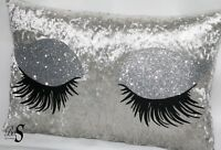 """ Eyelash Silver Crushed velvet Glitter Cushion."