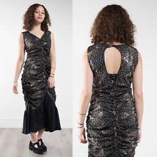 WOMENS VINTAGE BLACK GLITTER DETAIL SPARKLY FISHTAIL DRESS GLAM 80'S DISCO 8 10