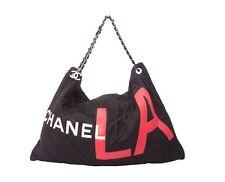 genuine CHANEL Black canvas LA bag