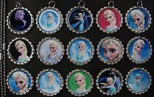 15 Frozen Flat SILVER Bottle Cap Necklaces Set 06