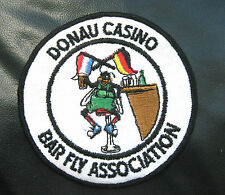 """DONAU CASINO EMBROIDERED SEW ON ONLY PATCH BAR FLY ASSOCIATION 4"""" FUNNY"""