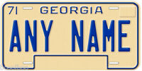Georgia1971-75 Any Name Number Novelty Car License Plate