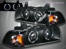 92-98 BMW E36 3 SERIES 2 DOOR COUPE DUAL HALO PROJECTOR BLACK AMBER HEADLIGHTS