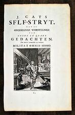Jacob Cats 1700 Orig Antique Print Self-Stryt Selbstzweifel Self-doubt Emblem