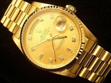 Mens Rolex Solid 18k Gold Day-Date President Watch FACTORY Diamond Dial 18238