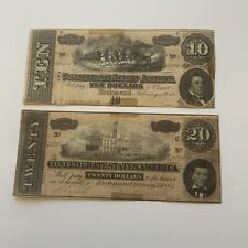 1864 Virginia 2 Obsolete Currency Notes $10 & $20 Confederate States Of America