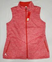 NEW Antigua Womens Heathered Red Sleeveless Full Zip Padded Jacket Vest Size M