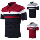 ❤️ Mens Collar Button Short Sleeve T-Shirt Tops Summer Casual Slim Fit Blouse US