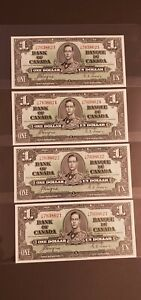 1937 Canada $1. VERY RARE 4 CONSECUTIVE Banknotes. UNC or Better.