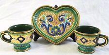 Italian Gold Mosaic Heart Plate Tea Cup Set Pure Hand Painted Green Coffee Mugs