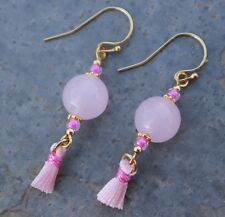 Pink Tassel Earrings- Rosewater Opal Lampwork Beads, 14k gold filled hooks