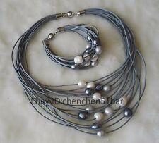 15 Reihen 10-12mm weiß grau schwarz Süßwasser Perle Leder Halskette Armband set
