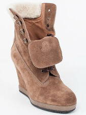 New  Moncler Light Brown Suede Wedge Booties Size 35  US 5