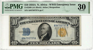 1934 A $10 SILVER CERTIFICATE NORTH AFRICA FR.2309 AA BLOCK PMG VF 30 (737A)