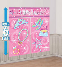 PRINCESS Scene Setter HAPPY BIRTHDAY party wall PHOTO BACKDROP tiara wand shoes
