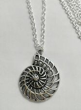 "Large Ammonite Sea Shell Fossil, The Little Mermaid  Charm Pendant 30"" Necklace"