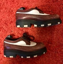 LONDON UNDERGROUND wingtip Oxford chunky platform creepers Leather Shoes Sz 8 W