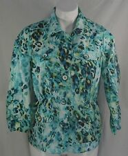 CHICO's Animal Print 3/4 Sleeves Button Down Top with Drawstring Waist - Size 0