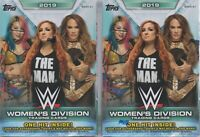 (2) 2019 Topps WWE WOMEN'S DIVISION Wrestling Trading Cards 71c BLASTER Box LOT
