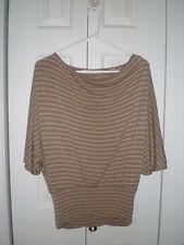 New York & Company Women's Tan Striped Dolman Sleeve Banded Waist Top X-Small
