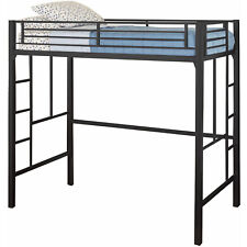 Yourzone Metal Twin Loft Black Bed Kids Home Bedroom Space Saving Furniture