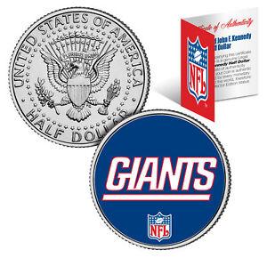 NEW YORK GIANTS NFL Logo JFK Half Dollar U.S. Coin Officially Licensed w/COA