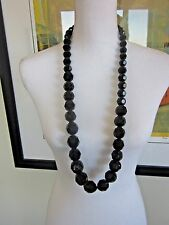 Simply Vera Wang Necklace Large Black Faceted Graduated Bead String NWT
