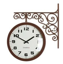 Antique Art Design Double Sided Wall Clock Station Clock Home Decor - ABrown