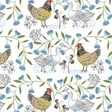 3 Wishes Fabric Farm Fresh by Flora Waycott 13802 White Hens Cotton Fabric