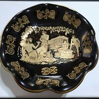 """24K Gold Hand made in Greece DAGOUNIS 8"""" Collector's Trinket Tray w/ Stand"""