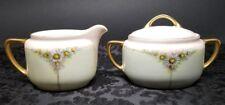 Antique KPM Krister Porcelain Creamer & Sugar Bowl Hand Painted Daisies Germany