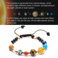 Universe Galaxy Eight Planet Natural Stone Bead Bracelet Solar System Star Women