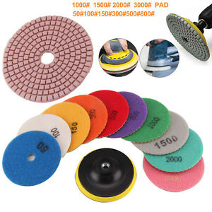 "11X Diamond Polishing Pads 4"" Grinder Disc For Granite Marble Concrete Stone"