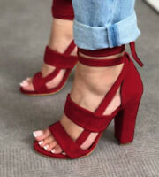 New  Women Lady Fashion High Block Heel Open Peep Toe Lace Up Sandals Shoes BJ