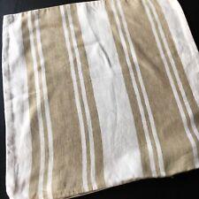 Pottery Barn Pillow Cover Tan White Stripe Linen 18 X 18
