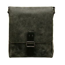 Ashwood - Black Messenger Bag in Cow Snuffed Distressed Leather